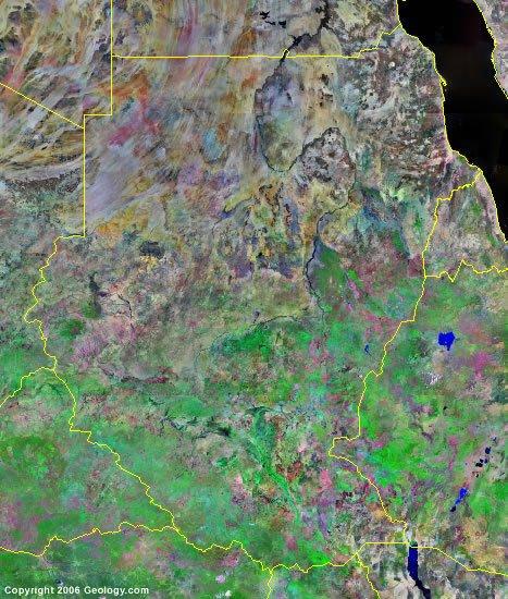 Sudan and South Sudan satellite photo