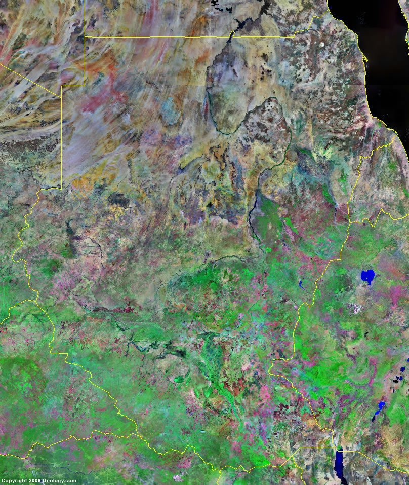 sudan and south sudan map and satellite image