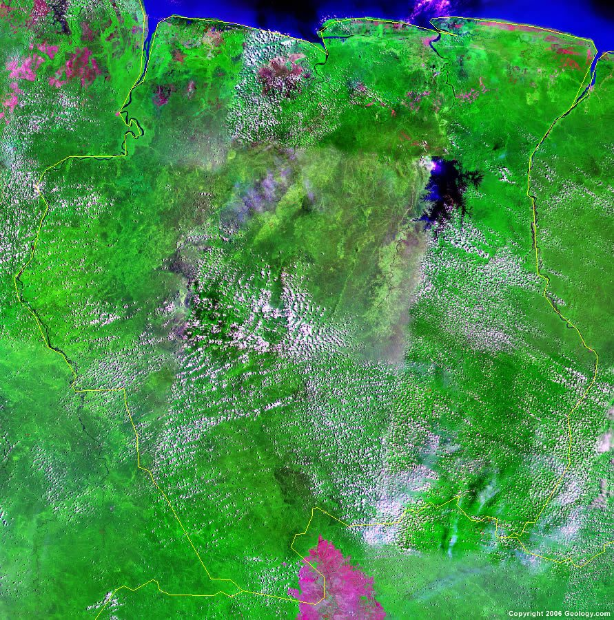 suriname map and satellite image