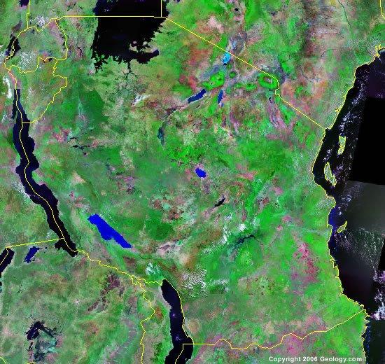 Tanzania satellite photo