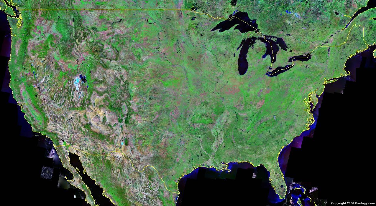 united states map and satellite image