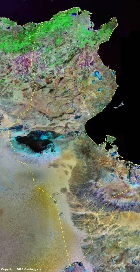 Tunisia satellite photo