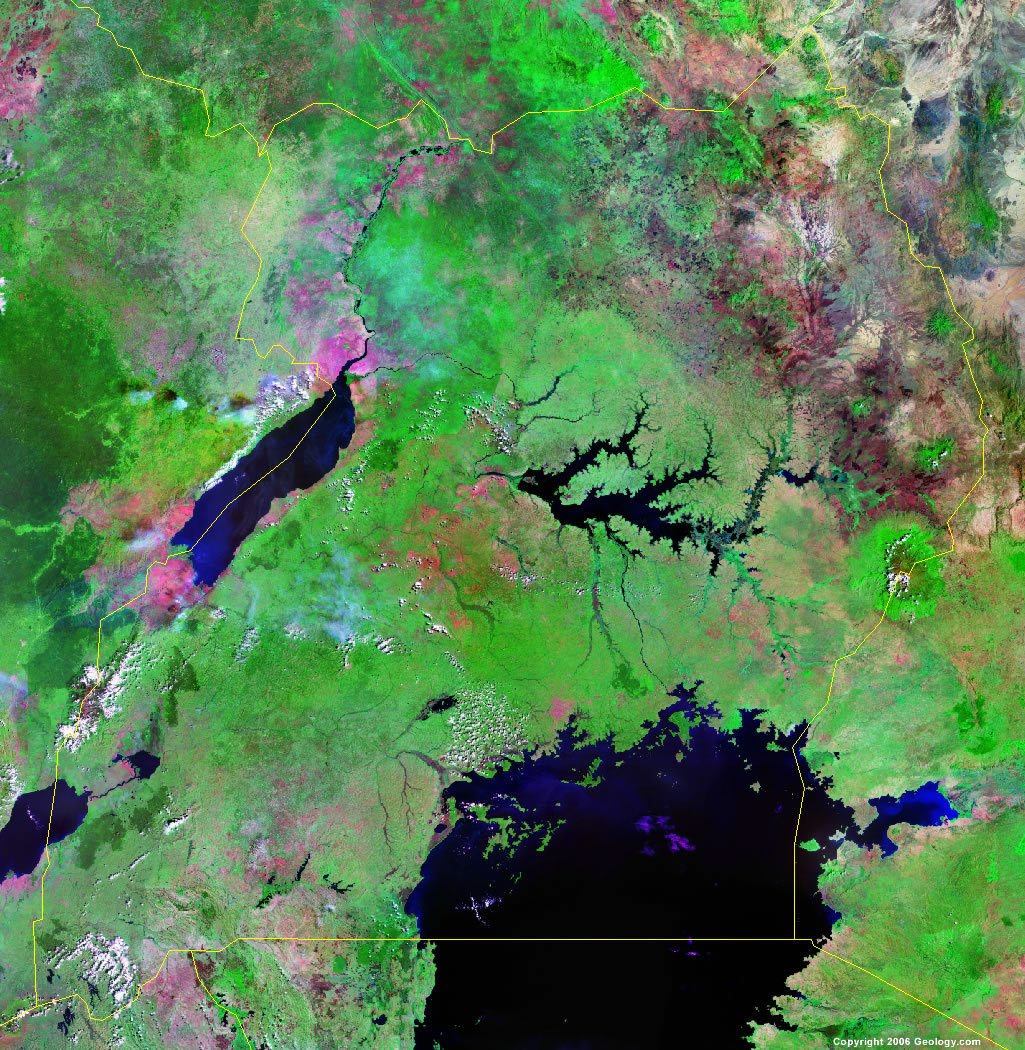 Uganda Map and Satellite Image
