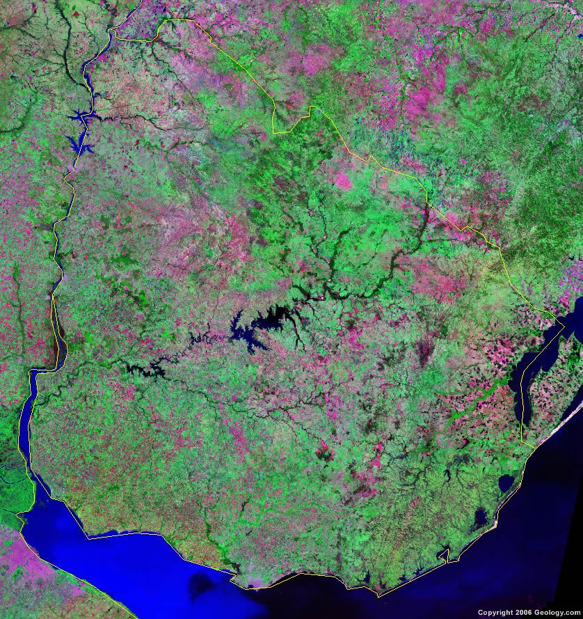 Uruguay Map And Satellite Image - Map of uruguay