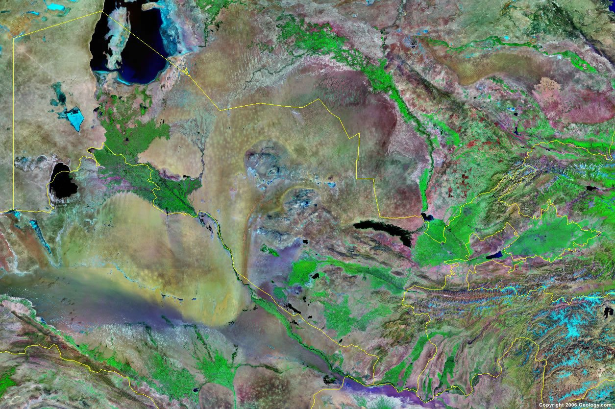 Uzbekistan satellite photo