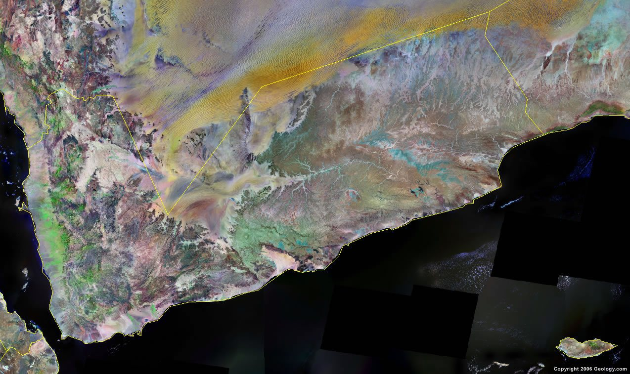 Yemen Map and Satellite Image