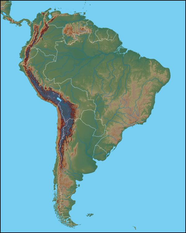 physical map of south korea. south america physical map