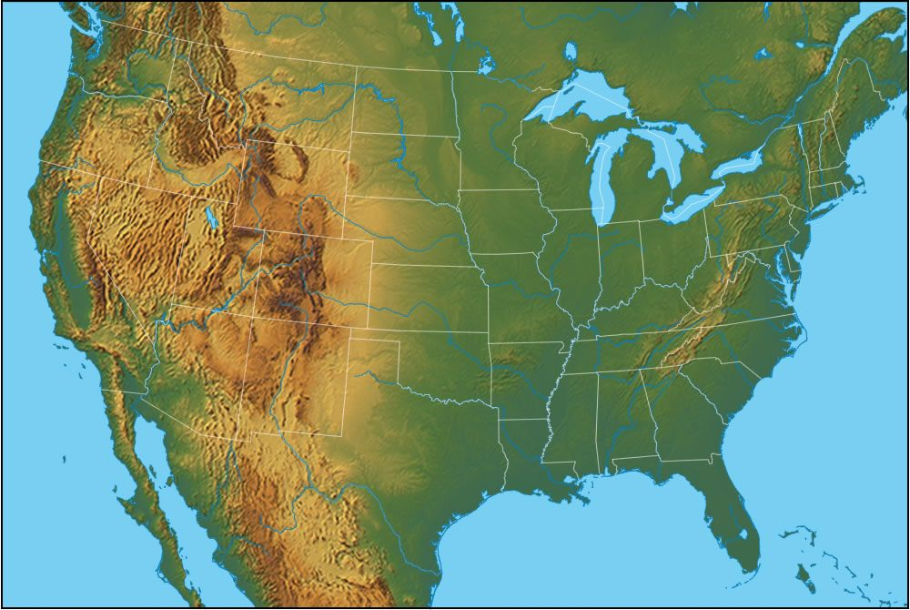 Physical Map Of The United States United States Of America - United states map mountains