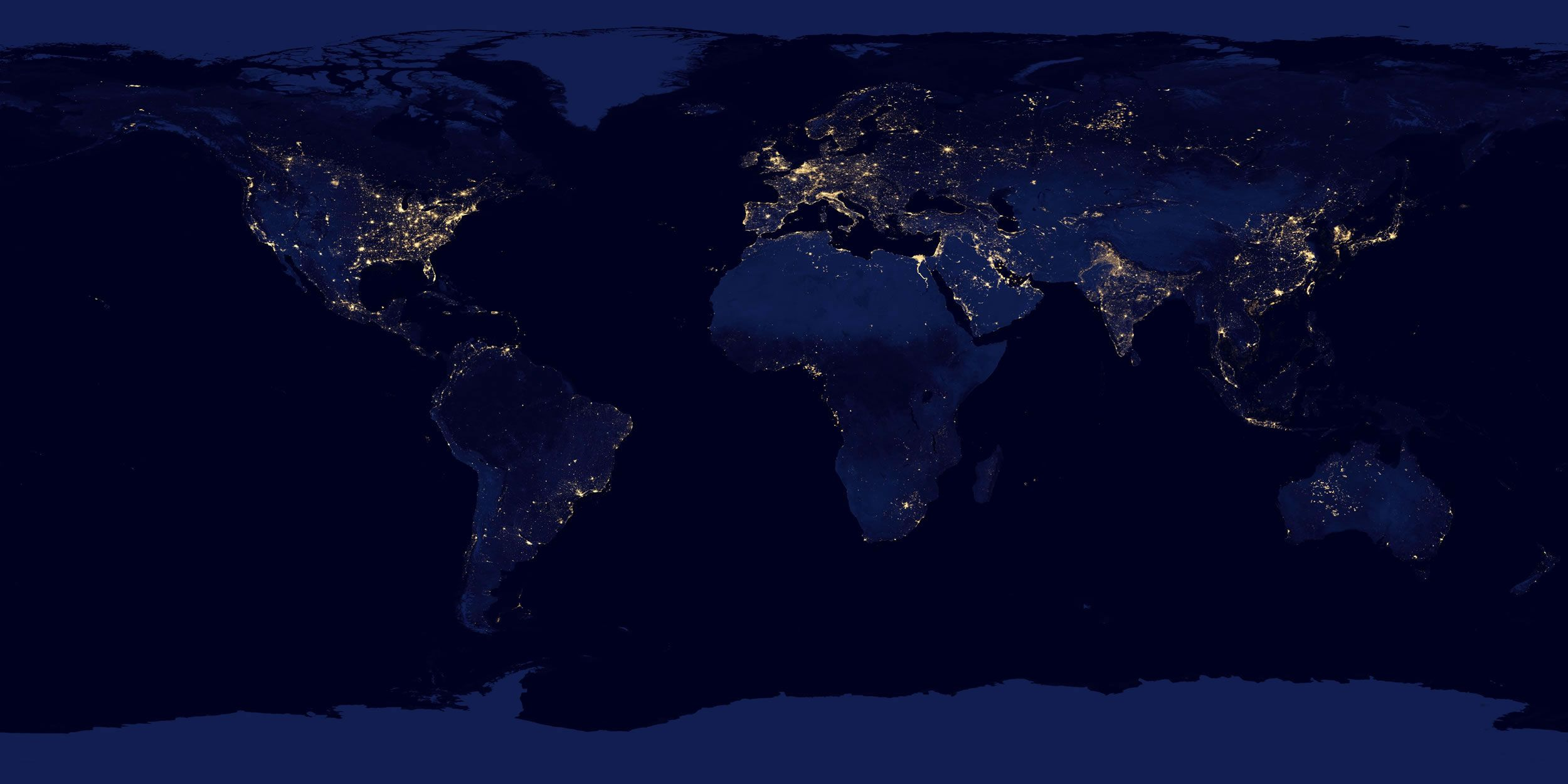 World Map Of Cities At Night