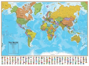 photo about Large Printable World Map identified as Earth Map: A clickable map of international nations around the world :-)